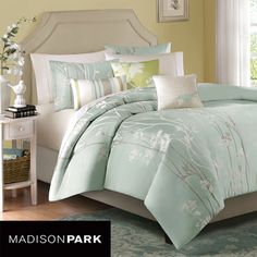 @Overstock.com - Madison Park Athena 6-piece Duvet Cover Set - Dress up your bedroom in cool sophistication with this seafoam blue six-piece duvet cover set, which is a nature-inspired, jacquard design. The set includes a duvet cover, two shams, two decorative square pillows and one oblong pillow.  http://www.overstock.com/Bedding-Bath/Madison-Park-Athena-6-piece-Duvet-Cover-Set/5492962/product.html?CID=214117 $89.99