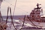 USS Newport News  along side - WESTPAC72 Span wires, trolleys, saddles, and hoses,