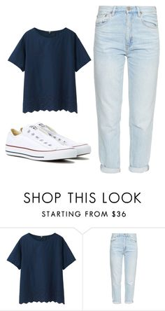 """Casual"" by beyond-myy-thoughtss ❤ liked on Polyvore featuring Uniqlo, M.i.h Jeans and Converse"