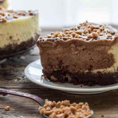 Vanilla and Dark Chocolate make this Homemade Vanilla Chocolate Cheesecake the Best Decadent Dessert.Perfect sprinkled with Skor Toffee Bits.
