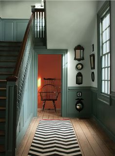 Williamsburg Wythe Blue (CW-590), Palace Pearl (CW-650), and Claret (CW-305) from Benjamin Moore's Williamsburg Collection. http://www.benjaminmoore.com/en-us/for-your-home/williamsburg-color-collection. Posted by the architectural color consultant Jean Molesworth Kee at her blog, The Painted Room (23 May 2013). http://paintedroom.com/2013/05/williamsburg-color-unstuffed/.