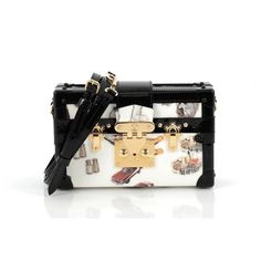 Pre-Owned Louis Vuitton Petite Malle Handbag Limited Edition Stickers... (46.154.480 IDR) ❤ liked on Polyvore featuring bags, black, monogrammed bags, vintage bags, real leather bags, genuine leather bags and quilted travel bags