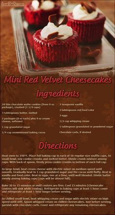 Mini red velvet cheesecakes recipes christmas christmas recipes xmas xmas recipes desert recipes easy recipes recipe ideas christmas cupcakes ingredients instructions