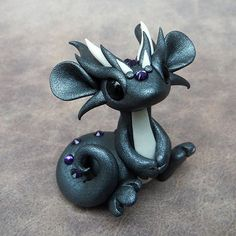 Dark Silver Dragon by DragonsAndBeasties on Etsy