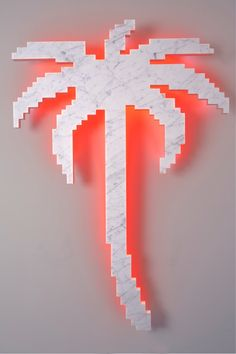 On Every Sunday, 2012 marble, stainless steel, neon 120x82x10 cm
