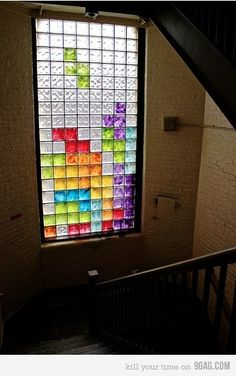 tetris window! This would fit the patio door nicely...now, how to decorate the existing window without replacing it? Hmm...