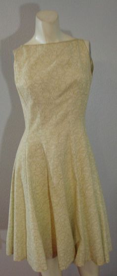 Vintage 50s Cocktail Dress S Green Gold yellow Floral Print S 34 Bust rayon  #Unbranded