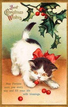 Christmas Ellen Clapsaddle Kitten Image Magnet