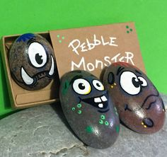 Pebble Monster Hand Painted Rock Pebbles by PigsMightFlyDesigns