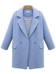 Blue Lapel Long Sleeve Woolen Coat