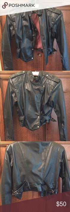Leather motorcycle style jacket Black cropped motorcycle style jacket. Real leather. I still love this jacket but it's to small for me now and it's not my daughter's style. So I'm giving it up. Jackets & Coats
