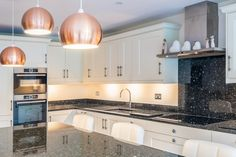 Lovely kitchen island within a Cream painted shaker kitchen topped with Blue Pearl Granite Real Kitchen, Kitchen Tops, Kitchen Island, Kitchen Cabinets, Cream Shaker Kitchen, Blue Pearl Granite, Cream Paint, Real Wood, Kitchens