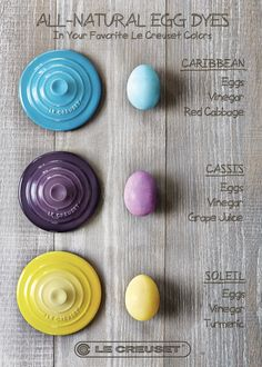 All-Natural Egg Dye. Boil the eggs in the pot with vinegar and cabbage to get blue eggs? Seriously? Got to try this.