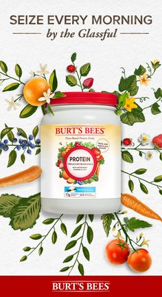 Burt's Bees Protein +Healthy Radiance Powder contains 15g of plant-based protein in every scoop. Our protein powder has 4.5 servings of fruits and vegetables plus antioxidants and is non-GMO, gluten-free, soy-free, and dairy-free and made without artifici