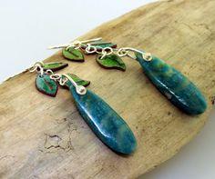 Leaf Earrings green enamel with Russian by KathrynRiechert on Etsy