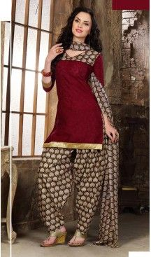 Alluring Maroon Cotton Jacquard Fabric Solid Style Stitched Panjabi Dresses