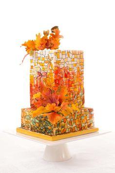 #weddingcakes #wedding #hand-paintedcakes Mosaic Autumn Cake - Cake by Albena