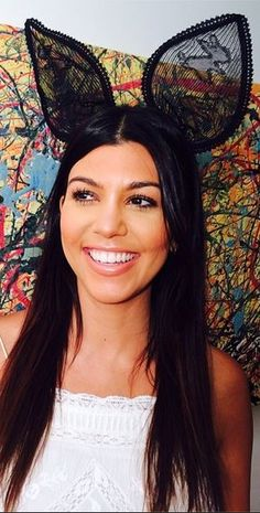 Who made Kourtney Kardashian's black lace bunny ear headbands