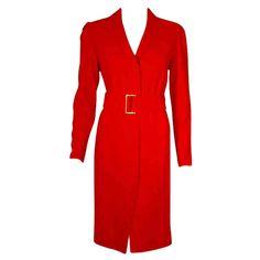 Valentino Red Coat With Logo Belt