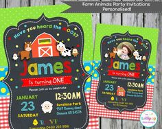 Farm Animals Birthday Invitations - Farm Party - Personalized - Chalkboard - Cute Custom Invite - Birthday Party - First - Digital File by Lollipop Party Supplies Farm Animal Party, Farm Animal Birthday, 1st Boy Birthday, 1st Birthday Parties, Birthday Ideas, Farm Party Invitations, 1st Birthday Invitations, Invitation Ideas, Personalized Invitations