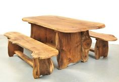 Rustic solid wood garden tables and benches from slabs of Scottish timber