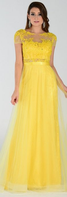 Lace Prom Gown Yellow Mesh Overlay #discountdressshop #promgown #yellowdress #mesh #shortsleeves #pageant #formalwear