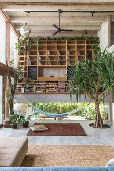 Bali-based Patisabdhika Studio and architect Daniel Mitchell recently completed this gorgeous brutalist house. Named A Brutalist Tropical Home in Bali , the multi-level square feet sqm) house is located in a small valley nestled within ric Home Interior Design, Interior Architecture, Interior And Exterior, Ikea Interior, Contemporary Architecture, Estilo Tropical, Tropical Vibes, Concrete Houses, Concrete Wood