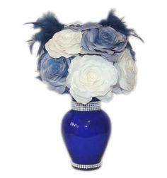 Navy Blue Centerpiece filled with Navy blue and white handmade paper Roses, Baby shower decor, Bridal shower decor, floral arrangement - pinned by pin4etsy.com