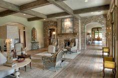 brick and light wood floors