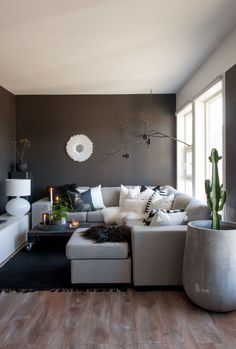 Small black white and grey Scandinavian living room