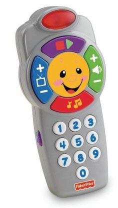 Fisher-Price Laugh and Learn Click'n Learn Remote.  Around 6 months the baby became OBSESSED with the remote control and would end up switching the channel on us so we swapped it out with this and she loves it!