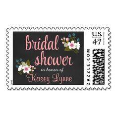 Floral Chalkboard Bridal Shower Stamp #wedding #postage #stamps