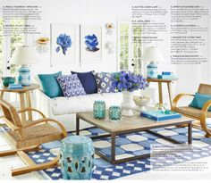 Has: Really great chairs, good coffee table, ikat pillows   Needs: Half the blue.  Styling feels forced.