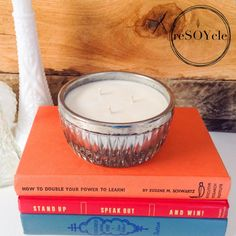 Silver Plated Rim Cut Glass Candy Dish Soy Candle  by reSOYcle, $20.00