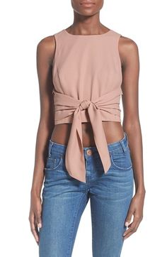 So cute!!!  J.O.A. Tie Front Crop Top available at #Nordstrom