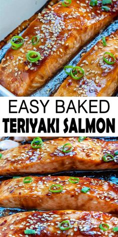 A totally flaky and tender salmon recipe that is made out of a simple homemade teriyaki sauce and baked to perfection. Makes for a great dinner or lunch recipe which may prepare in under half an hour. Baked Salmon Recipes, Fish Recipes, Seafood Recipes, Healthy Recipes, Lunch Recipes, Healthy Meals, Dinner Recipes, Baked Teriyaki Salmon, Teriyaki Fish