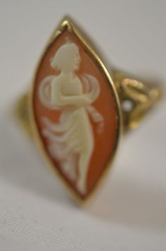 10k Gold Marquise Hardstone Cameo Female Carving Estate Jewelry Size 5.5 Ring #Solitaire