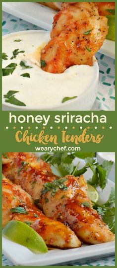 Honey Sriracha Chicken Tenders are a perfect family meal or game day snack. Serve them with homemade ranch for dipping! You'll love this quick and easy chicken recipe! Chicken Tender Recipes, Low Carb Chicken Recipes, Spicy Recipes, Turkey Recipes, Appetizer Recipes, Dinner Recipes, Cooking Recipes, Healthy Recipes, Yummy Recipes