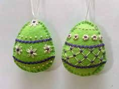 Felt easter decoration  embroided green egg with by DusiCrafts