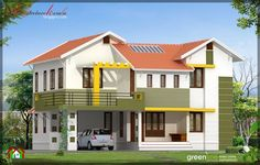 sloping roof mix 1500 sq ft home homes pinterest kerala
