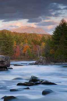 Maine, West Branch of the Penobscot River and Mount Katahdin in Baxter State Park