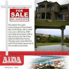 Situated in the safe surroundings of the Mossel Bay Golf Estate, this is what you can call home. With an inside braai area with a bar and jacuzzi, this is the ideal entertainers home. The big open plan kitchen and living areas opens up to the undercover patio. WEB REF: AMOS-0040  #house #golfestate #safe Golf Estate, 5 Bedroom House, Open Plan Kitchen, Undercover, Open Up, Jacuzzi, Living Area, Patio, Entertaining