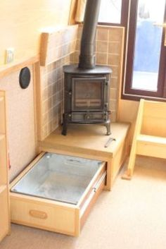 Drawer under the stove. Drawer under the stove. Bus Living, Tiny House Living, Canal Boat Interior, Narrowboat Interiors, Tiny Spaces, Tiny House Plans, Tiny House Design, House On Wheels, Stoves
