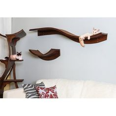 Introducing the new Lotus Cat Shelves from The Refined Feline, now available! These shelves were designed specifically to match the Lotus Cat Tower. Modern Cat Furniture, Pet Furniture, Furniture Stores, Furniture Design, Mimi Chat, Cat Wall Shelves, Cat House Diy, Wood Cat, Lotus