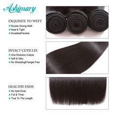 Ashimary Malaysian Straight Hair 13x4 Lace Frontal Closure Remy Human Hair Bundles - 22 & 24 & 26 & Closure 20 / Natural Color