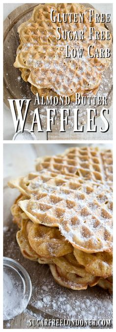 Sugar-free and low carb! Perfect for a weekend breakfast or as a nourishing afternoon treat: These protein-packed, sugar free almond butter waffles are gluten free, paleo and low carb. Low Carb Desserts, Gluten Free Desserts, Gluten Free Recipes, Low Carb Recipes, Easy Recipes, Breakfast Desayunos, Breakfast Recipes, Breakfast Ideas, Sugar Free Breakfast