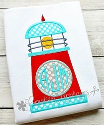 Lighthouse Monogram Applique - 4 Sizes! | What's New | Machine Embroidery Designs | SWAKembroidery.com Creative Appliques