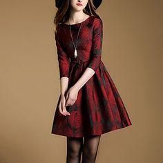Mujer+Corte+Skater+Vestido+Casual/Diario+Sofisticado,Bordado+Escote+Redondo+Mini+3/4+Manga+Rojo+Algodón+Primavera+/+Otoño+Tiro+Medio+–+USD+$+26.99