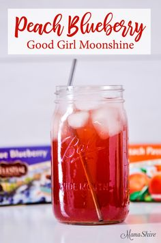 Peach Blueberry Good Girl Moonshine. Sugar-Free, All-Day Sipper, THM, Low-Carb.#goodgirlmoonshine #trimhealthymama #thm #lowcarb
