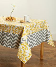Yellow Damask Chevron Tablecloth